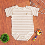 Organic Cotton Baby Short Sleeve Onesie Romper  – GoodDino Series by FirstDino – LIGHT BROWN (THICK LINES)