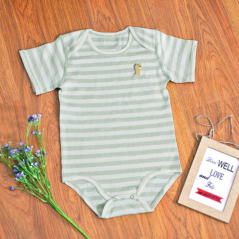 Organic Cotton Baby Short Sleeve Onesie Romper – GoodDino Series by FirstDino – GREEN