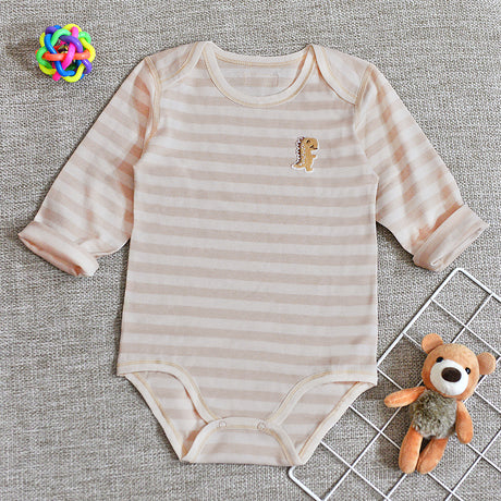 Organic Cotton Baby Long Sleeve Onesie Romper – GoodDino Series by FirstDino – LIGHT BROWN