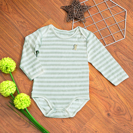 Organic Cotton Baby Long Sleeve Onesie Romper – GoodDino Series by FirstDino – GREEN