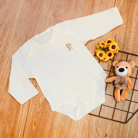 Organic Cotton Baby Long Sleeve Onesie Romper  – GoodDino Series by FirstDino – PLAIN CREAMY WHITE