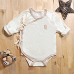 Organic Cotton Baby Kimono Long Sleeve Onesie Romper – GoodDino Series by FirstDino – LIGHT BROWN