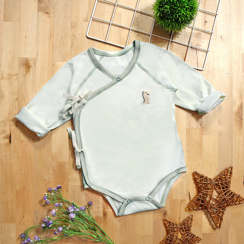 Organic Cotton Baby Kimono Long Sleeve Onesie Romper – GoodDino Series by FirstDino – GREEN & CREAMY WHITE (0 - 6mth)