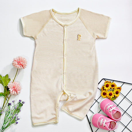 PREMIUM Organic Cotton Baby Romper Short Sleeve & Pants – GoodDino Series by FirstDino – LIGHT BROWN & WHITE