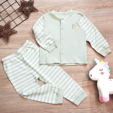 PREMIUM Organic Cotton Baby Long Sleeve Pyjamas – GoodDino Series by FirstDino – GREEN
