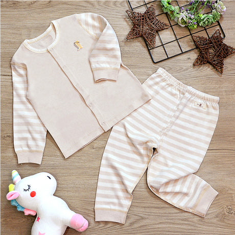 PREMIUM Organic Cotton Baby Long Sleeve Pyjamas – GoodDino Series by FirstDino – LIGHT BROWN