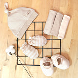 Organic Cotton Newborn Set, Mittens Booties Hankerchief and Baby Hat– GoodDino Series by FirstDino