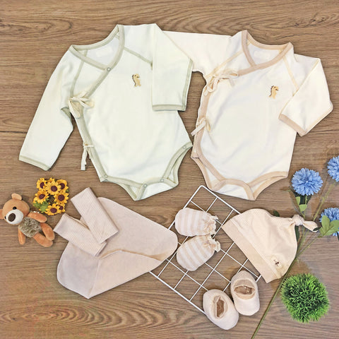 0 - 6MTH, FIRSTDINO KIMONO New Born Package, Long Sleeve Onesie Rompers – GoodDino Series by FirstDino (available for 0 - 6mth)