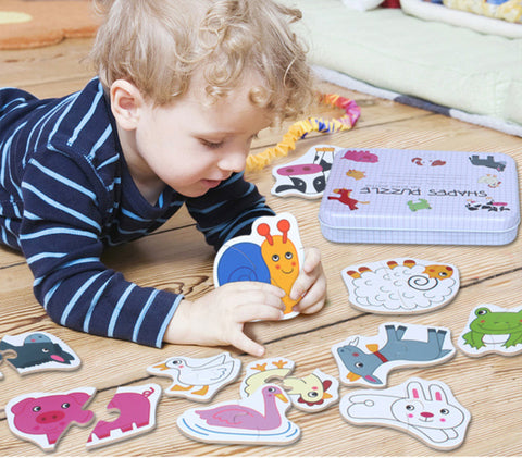 Smiling Whale Wooden Educational Jigsaw Puzzles for Toddlers