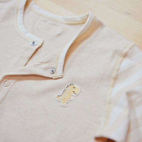 PREMIUM Organic Cotton Baby Long Sleeve Pyjamas Set  – GoodDino Series by FirstDino – LIGHT BROWN