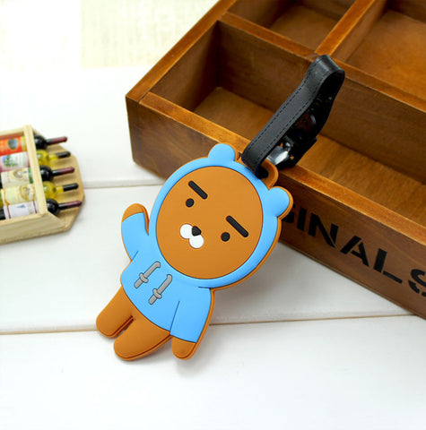 Smiling Whale Brown Bear Travel Silicone Bag or Luggage Tag