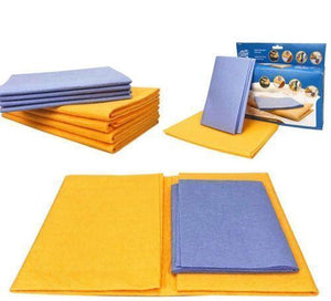Fast Kitchen Cleaning Towels 8 Pack: 4 Large Orange and 4 Small Blue