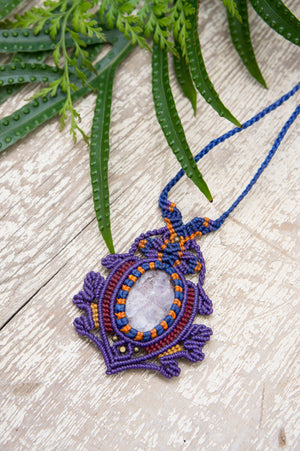 Purple Macrame Pendant