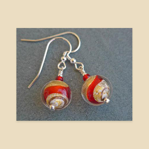 Julietta Earings - Red and Gold