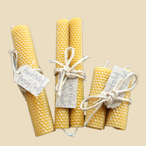 Beeswax candles, hand rolled