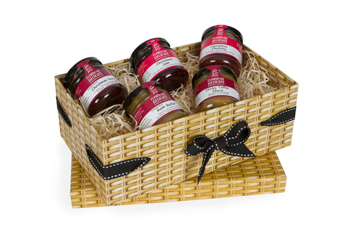 Small Wicker Effect Box with 5 Christmas Miniature Jars