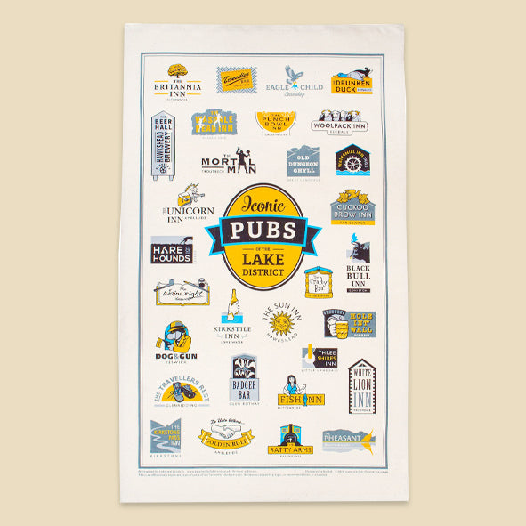 Pubs of the Lake District Tea Towel