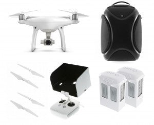 DJI Phantom 4 Quadcopter Pro Bundle - 2 Extra Batteries, 4 Extra Props, Backpack & Tablet Hood