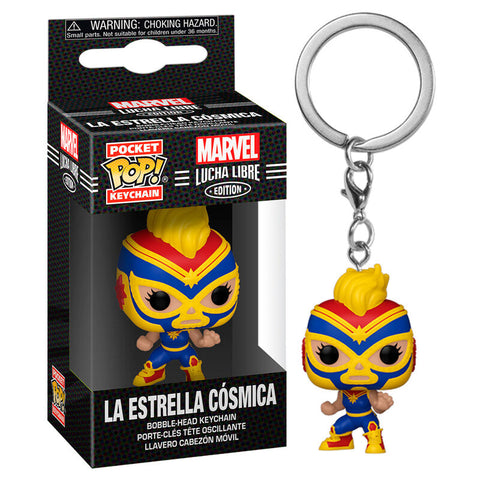 Pocket POP keychain Marvel Luchadores Captain Marvel La Estrella Cosmica
