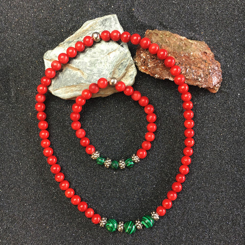 RED AGATE PEARL BRACELET / NECKLACE with MALACHITE PEARL