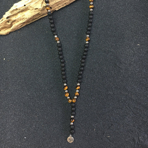 OM PENDANT with BLACK LAVA ROCK