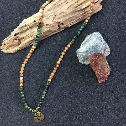 OM with GREEN JADE & SNAKESKIN AGATE PEARL NECKLACE