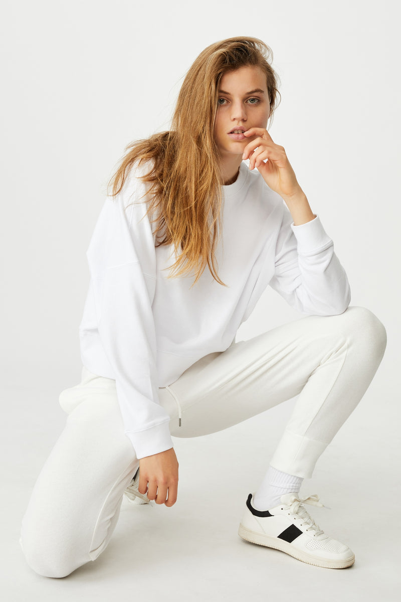 White  | high waist sweatpants