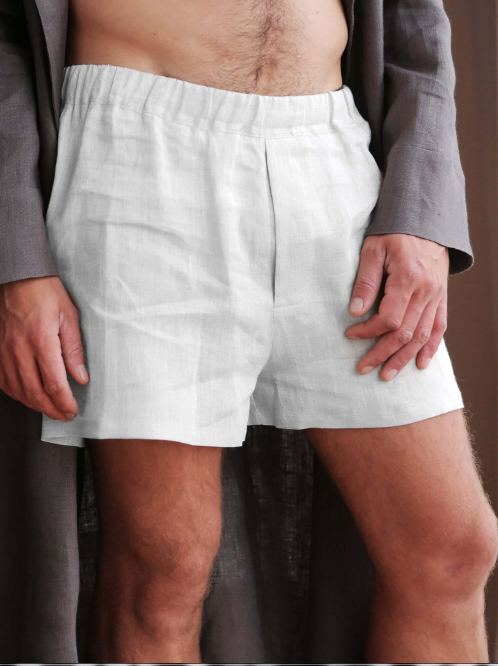White | set of 3 Men's Linen Underwear
