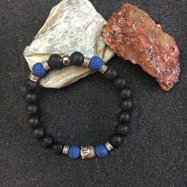BUDHA BLACK LAVA ROCK BRACELET with BLUE LAVA PEARL