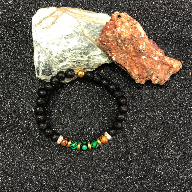 Black lava rock with malachite & wood pearl | bracelet