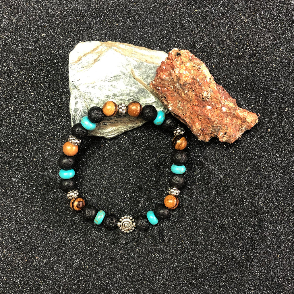 BLACK LAVA ROCK BRACELET with TURQUOISE & WOOD PEARL