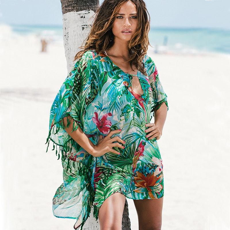 And Tunics Beach Dresses Lace Cover Up Coverups Bathing Suit Ups Beachwear For Women Woman Swim Skirt 2019 Chiffon Green Flowers
