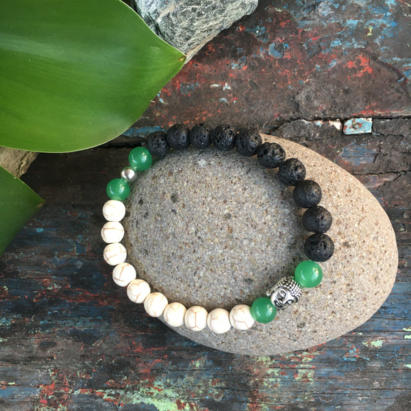 BUDHA BLACK LAVA ROCK BRACELET with AVENTURINE & WHITE AGATE PEARL