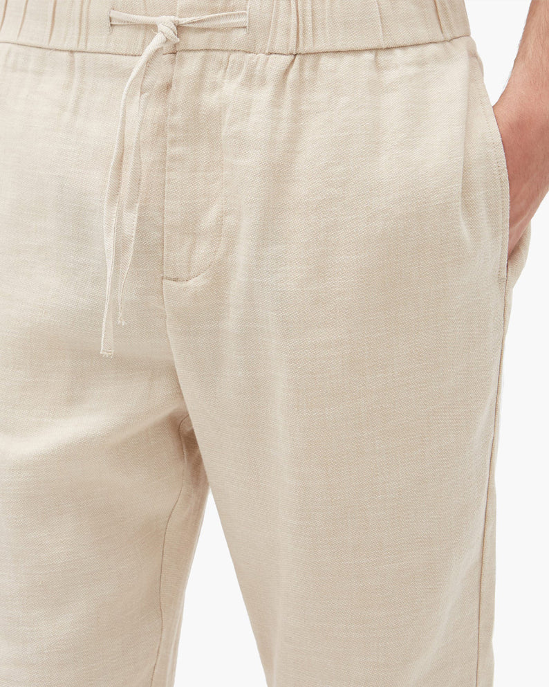Kai  |  beige linen pants with Zipper