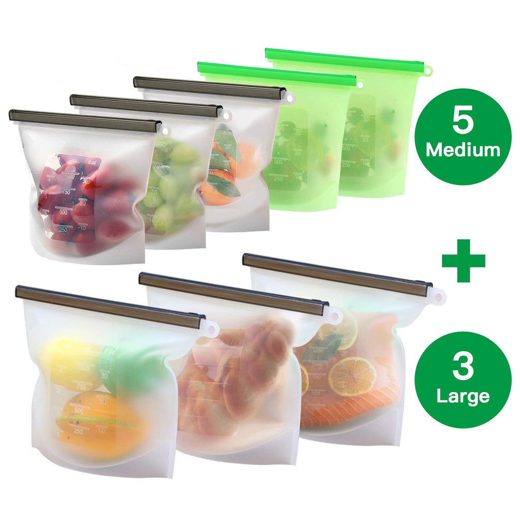Reusable Silicone Food Storage Bags Seal Food Preservation Bag Food Grade Versatile Silicone bags for Vegetable, Liquid, Snac
