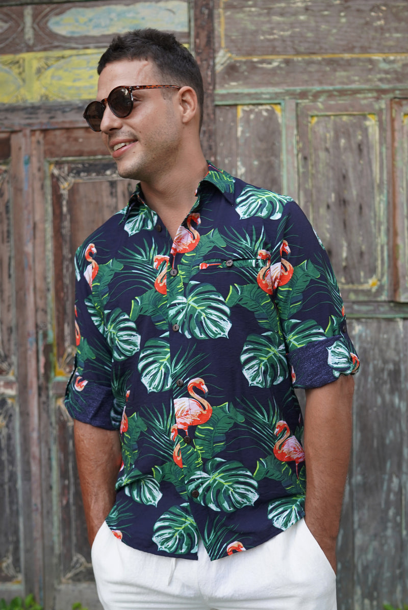 Tropical flamingo | men shirt