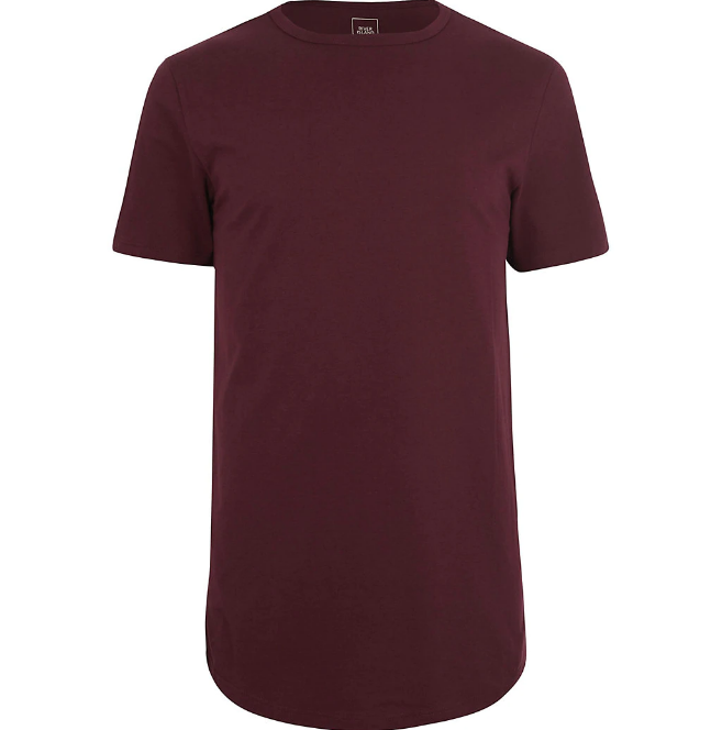 Red | curved hem T-shirt