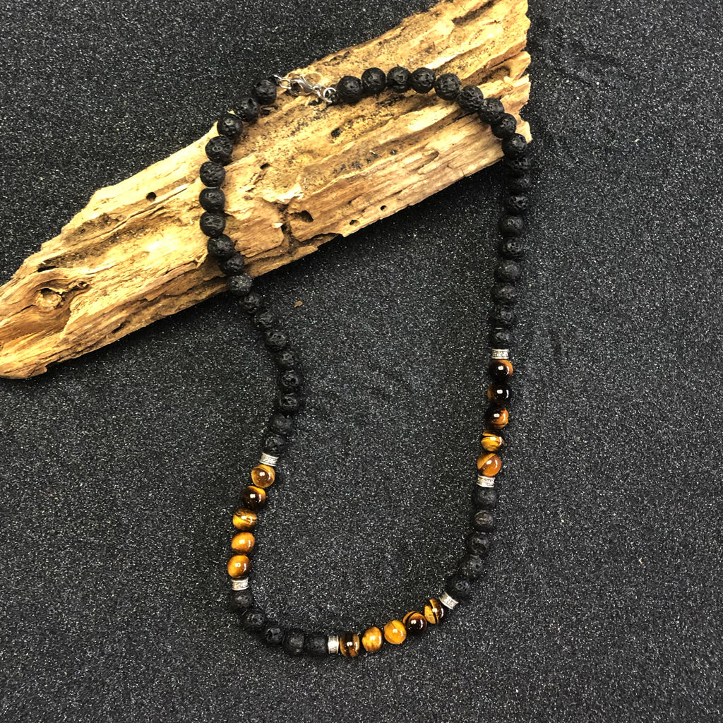 BLACK LAVA ROCK NECKLACE with TIGER EYE PEARL