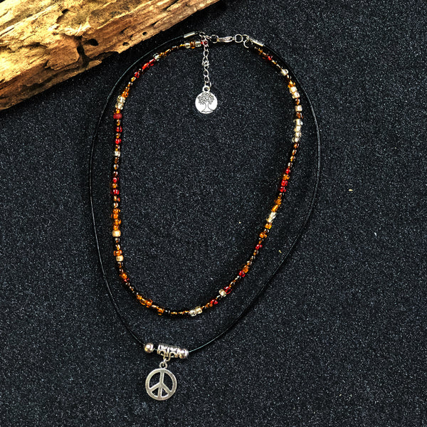 DOUBLE CHOKER NECKLACE with PENDANT