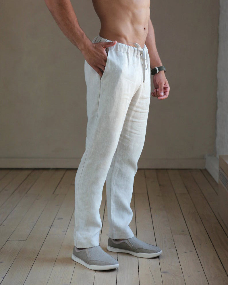 Kai  |  white linen drawstring pants