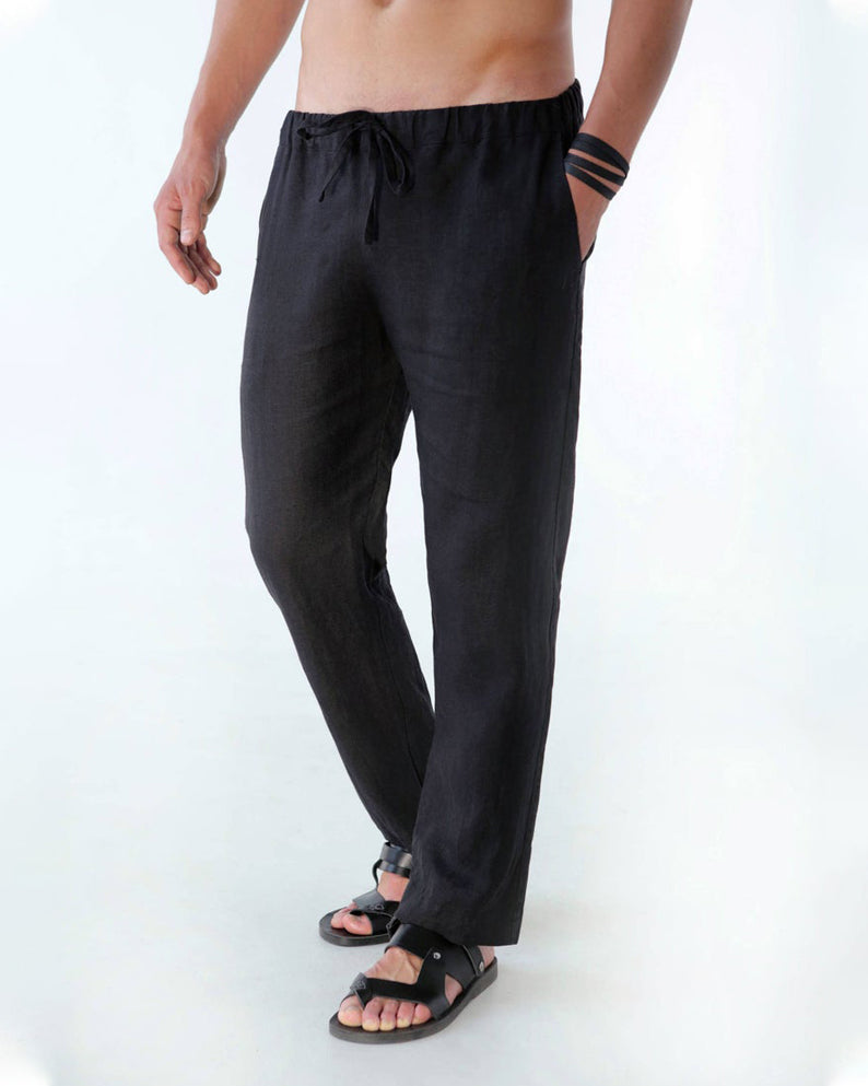 Kai  | black linen drawstring pants