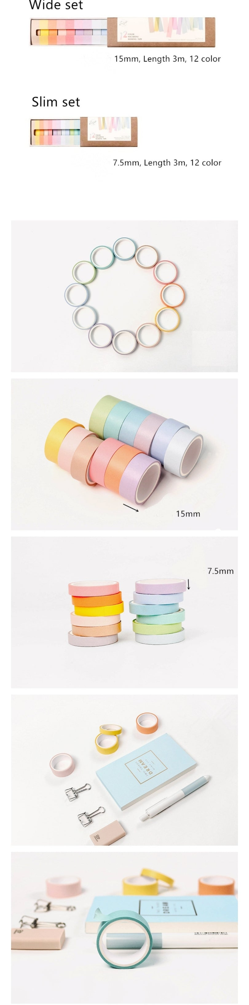 Set of 12: Macaron Washi Tape - Otrio Stationery - Pastel Collection
