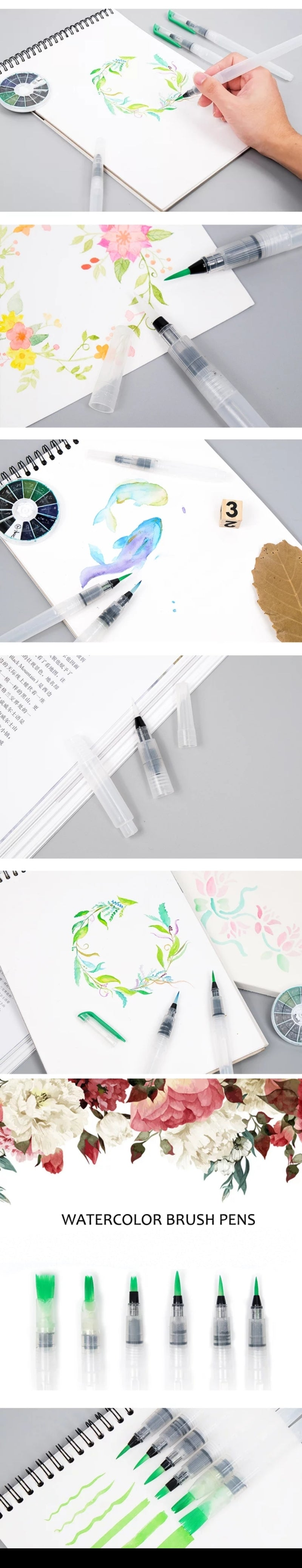 Refillable Watercolor Brush Pen Set - Otrio Stationery