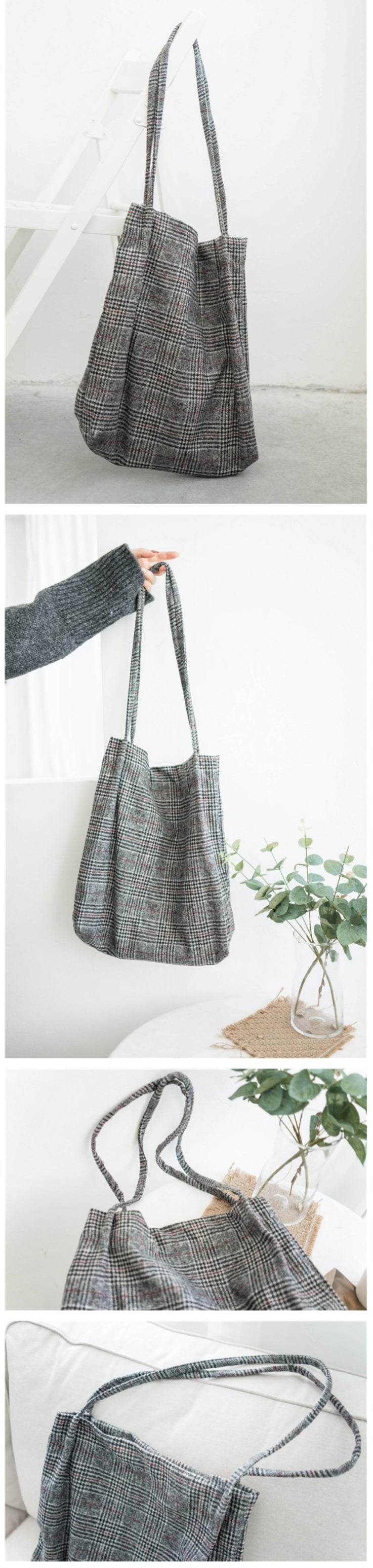Red Plaid Tote Bag - Otrio Stationery & Gifts