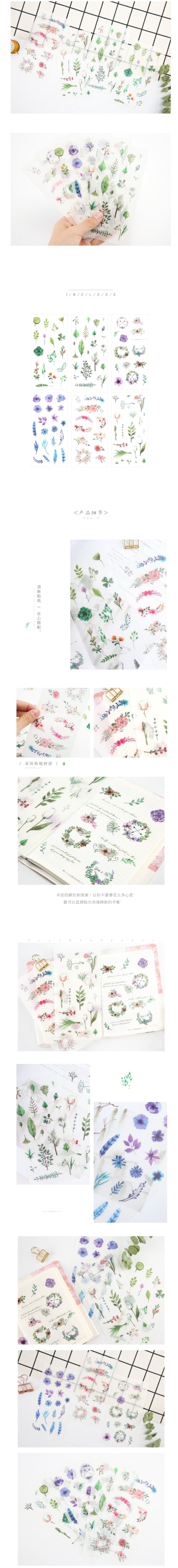 Watercolor flower and cactus sticker set: cute DIY, scrapbooking, bullet journal, and planner stickers - Otrio Stationery