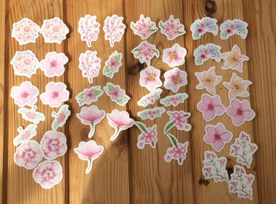 Kawaii Japanese Flower Sticker Set - Otrio Stationery - Cute Stickers
