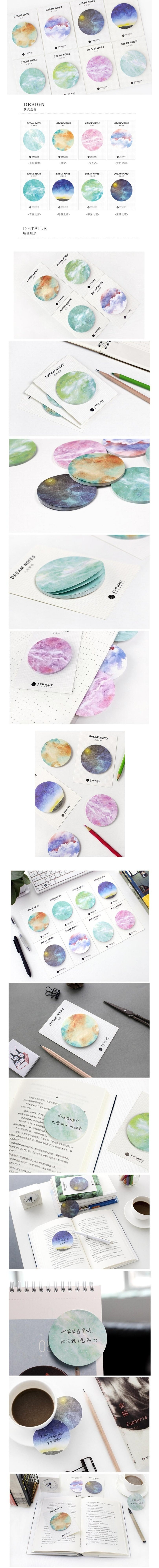 Galaxy Dream Sticky Notes - Otrio Stationery - Cute Pastel Planet Memo Pads