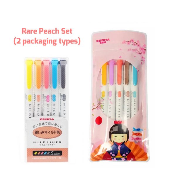 Rare Peach Colors: Zebra Mildliner Double-Headed Highlighters