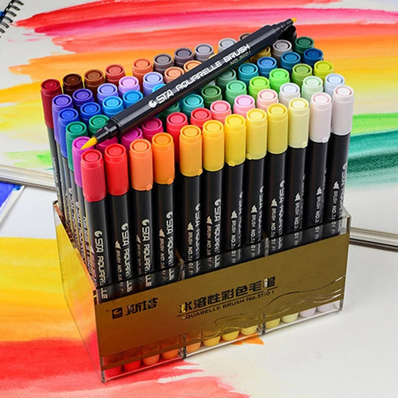 STA Dual-Tip Brush Pens and Markers: Set of 12 till 80 colors