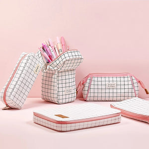 Grid Pink Pencil Pouch Series